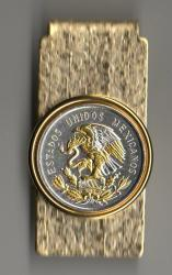 Gold and Silver on Silver Mexico 10 Centavo Eagle Hinge Money Clip