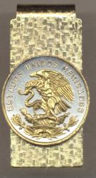 Gold on Silver Mexico 20 Centavo Eagle Hinge Money Clip