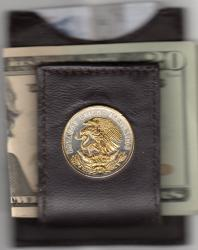 Gold on Silver Mexico 20 Centavo Eagle Folding Money Clip