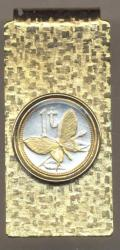 Gold on Silver Papa New Guinea 1 Toea Butterfly Hinge Money Clip