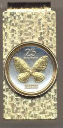 Gold on Silver Philippines 25 Sentimos Butterfly Hinge Money Clip