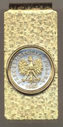 Gold on Silver Poland 20 Groszy Eagle Hinge Money Clip