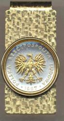 Gold on Silver Poland 5 Zlotych Eagle Hinge Money Clip