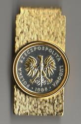 Gold and Silver on Silver Poland 5 Zlotych Eagle Hinge Money Clip