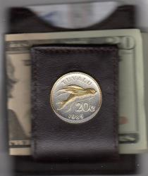 Gold on Silver Tuvalu 20 Cent Flying Fish Folding Money Clip