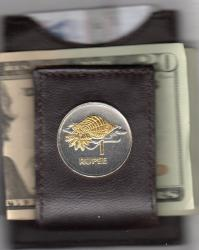 Gold and Silver on Silver Seychelles 1 Rupee Conch Folding Money Clip