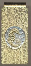 Gold on Silver Singapore 10 Cent Sea Horse and Sea Weed Hinge Money Clip