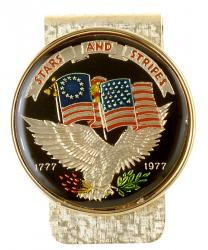 Hand Painted Stars & Stripes Commemorative Medallion Money Clip