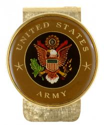 Hand Painted Army Commemorative Medallion Money Clip