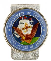 Hand Painted Navy Commemorative Medallion Money Clip
