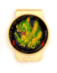 Hand Painted Year of Dragon Medallion (Green) Money Clip