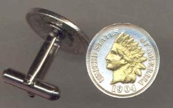 Gold on Silver Indian Head Cent Cuff Links