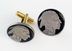 Hand Painted Buffalo Nickel (Obverse) Cuff Links