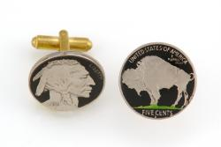 Hand Painted Buffalo Nickel (Obv and Rev) Cuff Links