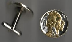 Gold and Silver on Silver Buffalo Nickel (Obv) Cuff Links