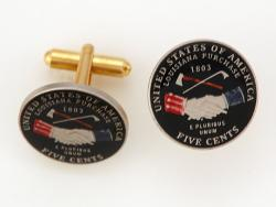 Hand Painted Jefferson Nickel Peace Medal Cuff Links