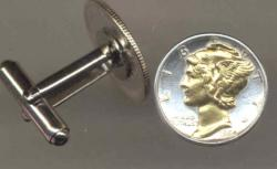 Gold on Silver Mercury Dime Cuff Links