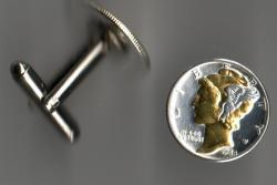 Gold and Silver on Silver Mercury Dime Cuff Links