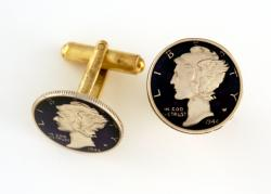 Hand Painted Mercury Dime (Obverse) Cuff Links