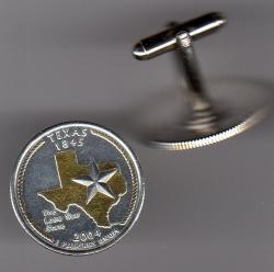 Gold on Silver Texas State Quarter Cuff Links