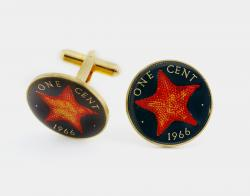 Hand Painted Bahamas 1 Cent Starfish Cuff Links