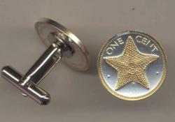 Gold on Silver Bahamas 1 Cent Starfish Cuff Links