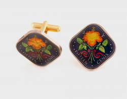 Hand Painted Bahamas 15 Cents Hibiscus Cuff Links