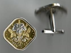 Silver on Gold Bahamas 15 Cent Hibiscus Cuff Links