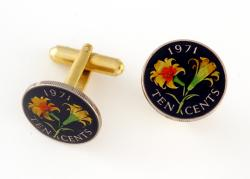 Hand Painted Bermuda 10 Cents Lily Cuff Links