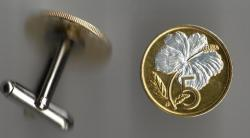 Gold and Silver on Silver Cook Islands 5 Cent Hibiscus Cuff Links