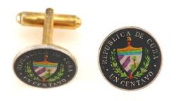 Hand Painted Cuba 1 Centavo Crest Cuff Links