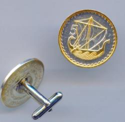 Gold and Silver on Silver Cyprus 5 Mils Viking Ship Cuff Links