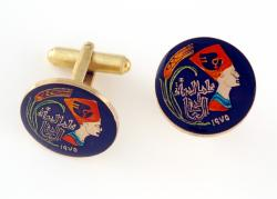Hand Painted Egypt 5 Millieme Queen Nefertiti Cuff Links