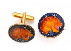 Hand Painted Ethiopia 1 Cent Lion Cuff Links