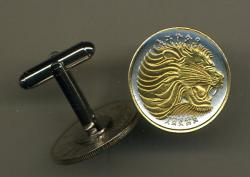Gold on Silver Ethiopia 10 Cent Lion Cuff Links