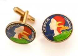 Hand Painted France 5 Centimes Cuff Links