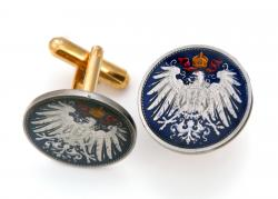 Hand Painted Germany 2 Marks Eagle Cuff Links