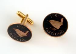 Hand Painted British 1 Farthing Wren (Black) Cuff Links