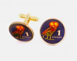 Hand Painted Greece 1 Drachma Owl Cuff Links