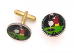 Hand Painted Isle of Man 5 Pence Golfer Cuff Links