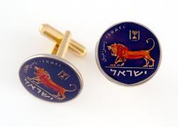 Hand Painted Israel 1/2 Sheqel Lion and Menorah Cuff Links