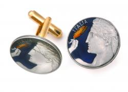 Hand Painted Italy 20 Centesimi Michelangelo's David Cuff Links