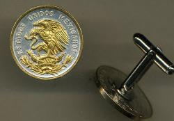 Gold on Silver Mexico 10 Centavo Eagle Cuff Links