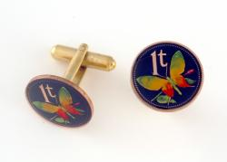 Hand Painted Papa New Guinea 1 Toea Butterfly Cuff Links