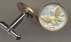 Gold on Silver Papa New Guinea 1 Toea Butterfly Cuff Links