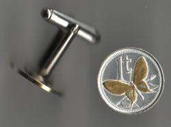 Gold and Silver on Silver Papa New Guinea 1 Toea Butterfly Cuff Links