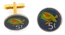 Hand Painted Papa New Guinea 5 Toea Turtle Cuff Links