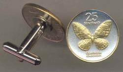 Gold on Silver Philippines 25 Sentimos Butterfly Cuff Links