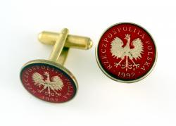 Hand Painted Poland 1 Grosz Eagle Cuff Links
