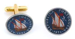Hand Painted Portugal 2 1/2 Escudos Ship Cuff Links